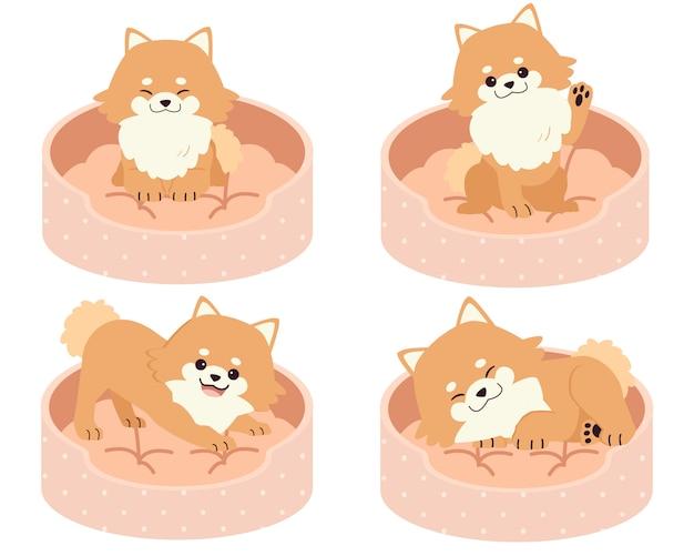 A coleção de pomerânia bonito no colchão ou na cama de ilustração de cachorro