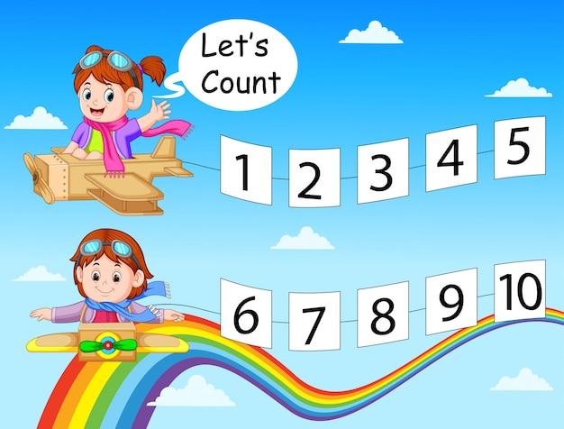 A coleção do número 1 até 10 no papel com as crianças no avião da caixa de cartão
