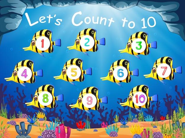 A coleção do peixe com o número 1 até 10 em seu corpo
