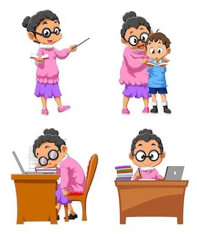 A coleção do professor fazendo o trabalho na escola de ilustração