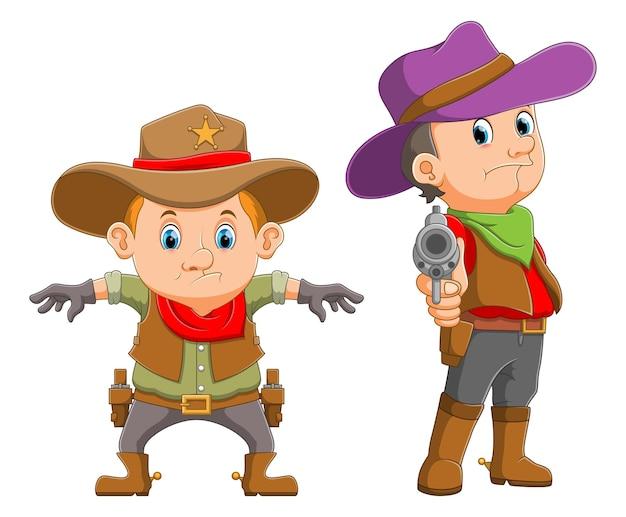 A coleção dos meninos está usando a fantasia de cowboys com a arma da ilustração