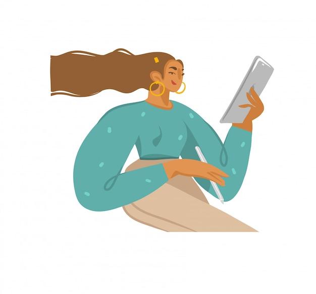 A coleção tirada mão conservada em estoque das ilustrações gráficas abstratas ajustou-se com a rapariga usa o computador da tabuleta e o lápis esperto no fundo branco