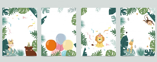A coleção verde do fundo do safari ajustou-se com macaco, urso, girafa.