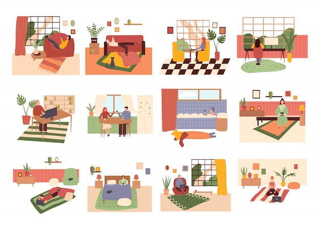 A coleta de homens e mulheres jovens passa o fim de semana em casa. homens e mulheres com telefones celulares, ilustração colorida dos desenhos animados plana.