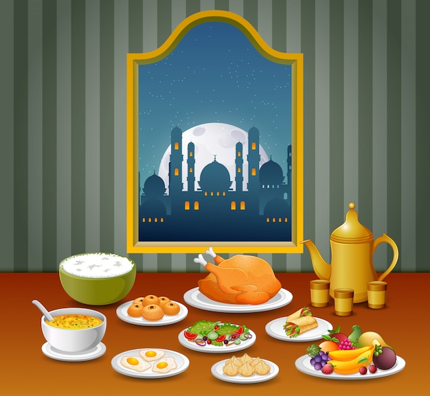 A comida com a variante diferente para a noite de mubarak ied