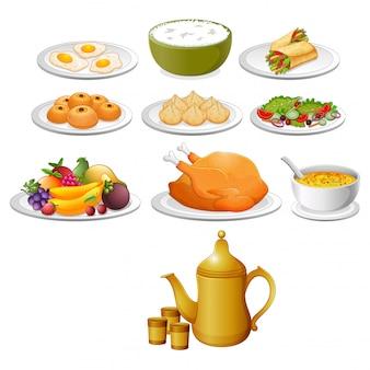 A comida deliciosa para o mubarak ied com a variante diferente