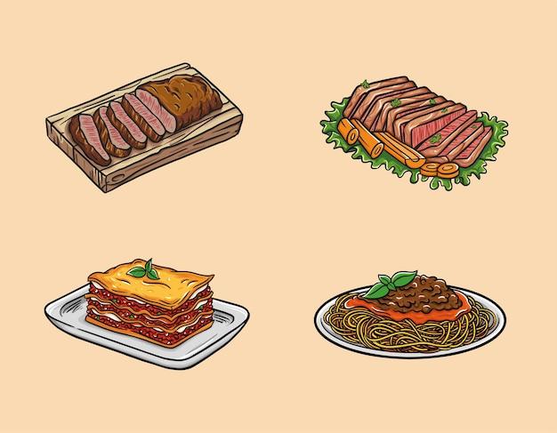 A comida inclui bife, carne enlatada, lasanha e espaguete.