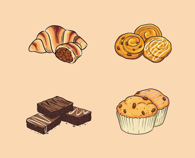 A comida inclui croissant, pastelaria dinamarquesa, brownies e muffin.
