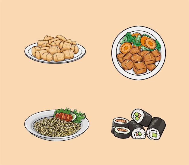 A comida inclui tater tots, chicken teriyaki, noodles e sushi.