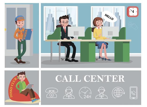 A composição colorida do call center com serviços de linha de apoio apóia trabalhadores e operadores de telefone com relógio ícones lineares do telefone globo