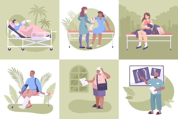 A composição da fratura definiu pacientes com braços e pernas quebrados, entorses e lesões