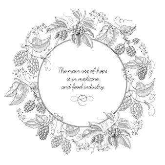 A composição do esboço da coroa redonda da cerveja hop com belos desenhos animados de flores e inscrição no centro