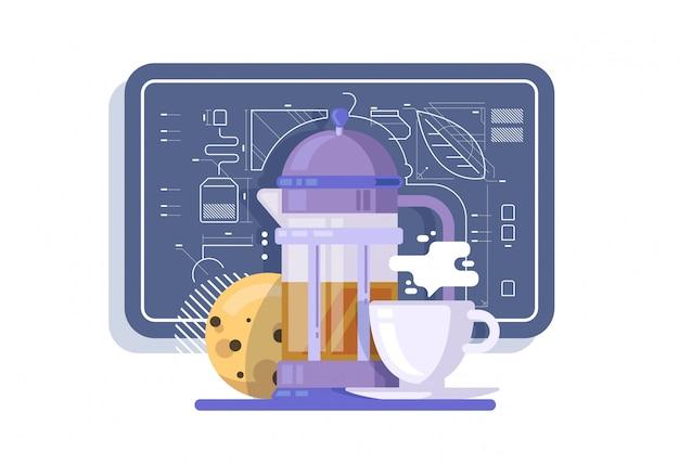 A composição dos itens de chá. bule, caneca, biscoito. antecedentes no estilo de desenhos técnicos.