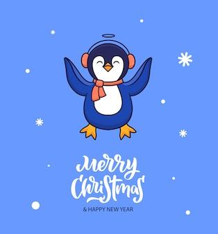 A composição é um pinguim encontra-se na neve.