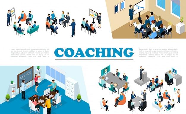 A composição isométrica do coaching de negócios com as pessoas participa do brainstorming do seminário de treinamento do pessoal da conferência
