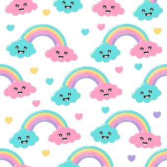 A cor pastel do kawaii corta desenhos animados das nuvens do arco-íris do tempo com teste padrão sem emenda das caras engraçadas no fundo branco.