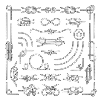 A corda náutica ata elementos decorativos do vintage. conjunto de nós de corda