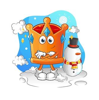 A coroa no inverno frio. mascote dos desenhos animados