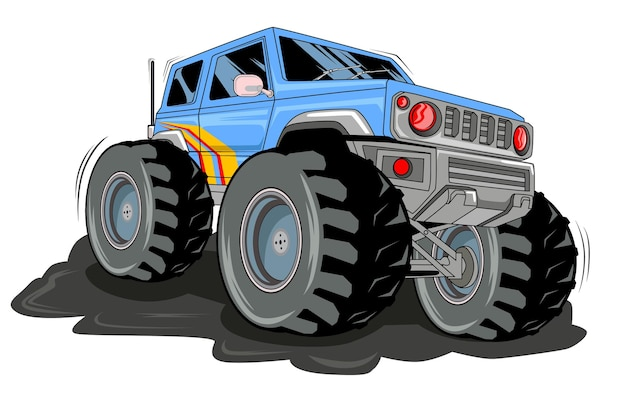 A corrida de estrada de caminhão grande azul