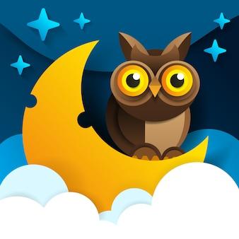 A coruja bonito dos desenhos animados senta-se na lua crescente adormecida