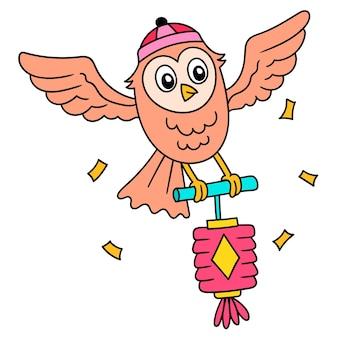 A coruja carrega uma lanterna para dar as boas-vindas ao ano novo chinês, doodle desenhar kawaii. ilustração vetorial arte