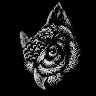 A coruja para tatuagem ou design de camiseta