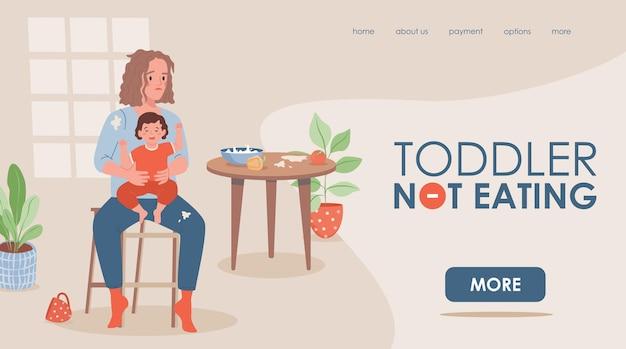 A criança não está comendo modelo de página de destino plana com espaço de texto