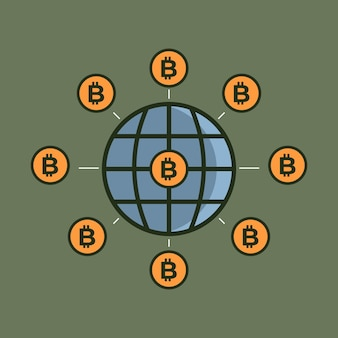 A criptomoeda bitcoin está dominando o mundo. ilustração vetorial mundial bitcoin