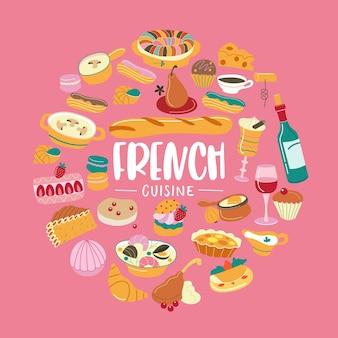A culinária francesa. conjunto de clipes. cozinha tradicional francesa, pastelaria, vinho, pão. ilustração em vetor de forma redonda.