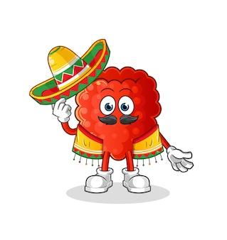 A cultura e a bandeira mexicana da framboesa. desenho animado
