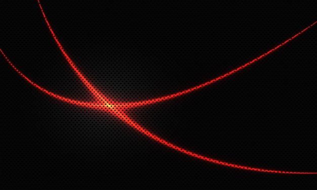 A curva da linha de luz vermelha abstrata cruza o fundo futurista.