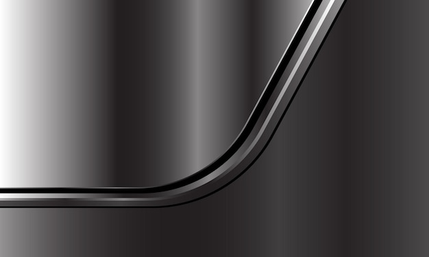 A curva da linha preta prata abstrata se sobrepõe em um fundo futurista de luxo moderno cinza escuro metálico