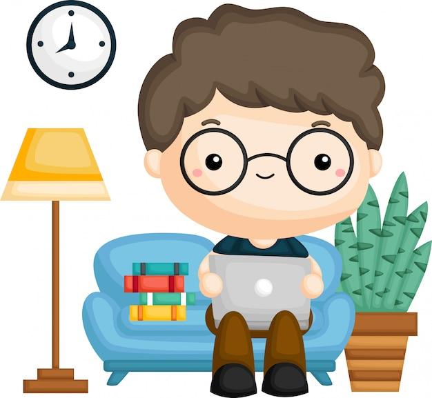 A de um homem que trabalha no sofá