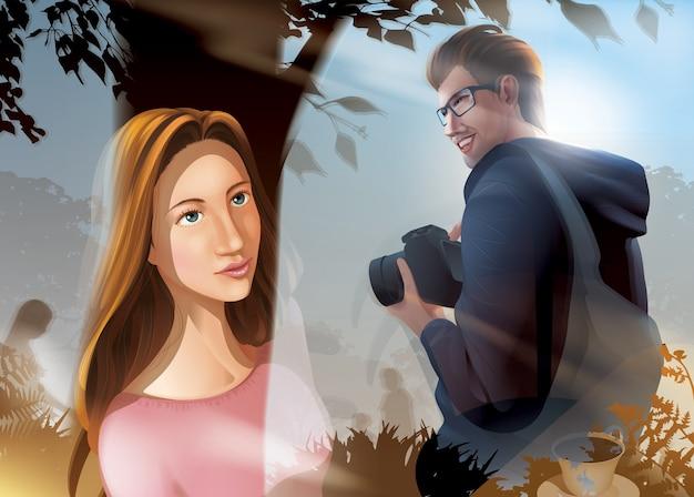 A de uma bela senhora olha o fotógrafo do sexo masculino através da janela de vidro de dentro do café