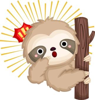 A de uma preguiça bonitinha sendo surpreendida