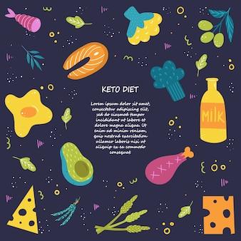 A dieta cetônica. uma coleção de alimentos ricos em gordura e proteína. desenho à mão. com lugar para o seu texto em um fundo escuro.