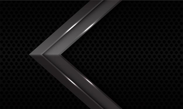 A direção da seta metálica cinza abstrata no padrão de malha de círculo preto projeta a ilustração futurista moderna do fundo.