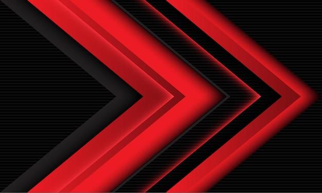 A direção da sombra da seta vermelha abstrata se sobrepõe ao fundo de tecnologia futurista moderna cinza escuro ondulado