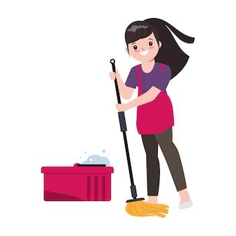 A dona de casa está limpando o chão com o esfregão.