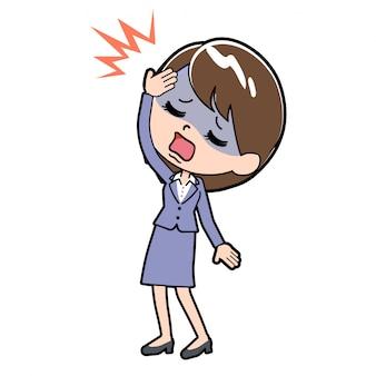 A dor de cabeça de mulher de negócios de linha