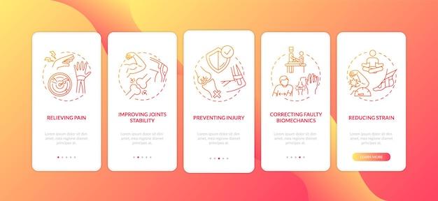 A dor muscular alivia a tela da página do aplicativo móvel com conceitos