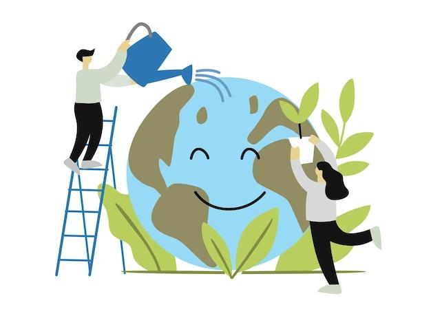 A ecologia do globo protege o conceito com as pessoas.