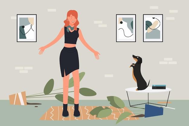 A educação do cão de estimação sobrecarregou o dono do animal de estimação, jovem, preocupada com o comportamento do cão bassê