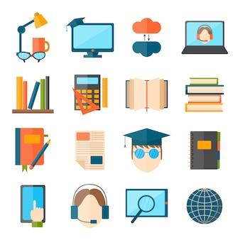 A educação e a escola do ícone da web do vetor ajustaram símbolos graduados do treinamento da faculdade.