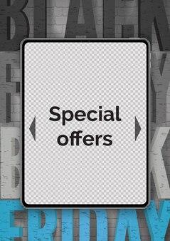 A eletrônica de sexta-feira negra oferece um modelo de banner realista. tablet moderno 3d. dispositivo portátil com tela em branco. gadget dá descontos em layout de pôster de propaganda com tipografia