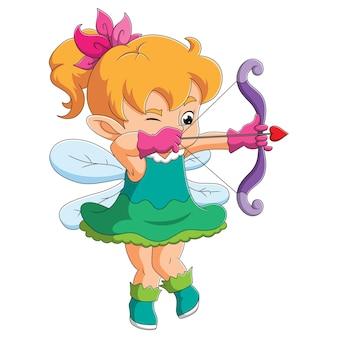 A elfa do arco e flecha segurando um arco de ilustração