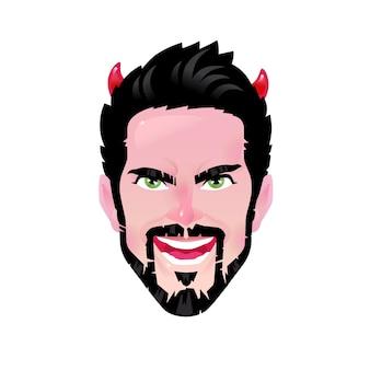 A emoção de um jovem. homem barbudo dos desenhos animados na imagem de um demônio ou demônio.
