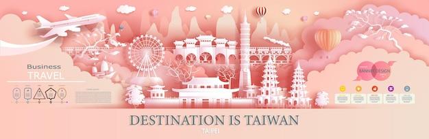 A empresa de publicidade de viagens vai para a coreia do mundo mais famosa. apresentação de turismo, design, modelo, banner, bilhete, negócios, brochura para marco de ilustração de publicidade da ásia com corte de papel.