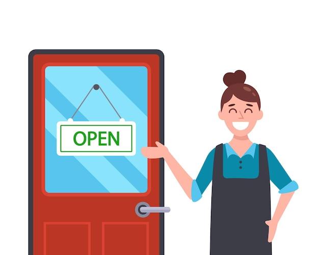 A empresária garota abre sua loja após a quarentena.