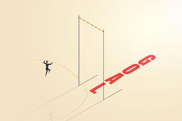 A empresária supera os desafios saltando com vara para alcançar seus objetivos ou realizações